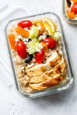 Bring the flavors of the Mediterranean to work with these Greek Chicken Meal Prep Rice Bowls – the perfect recipe to make ahead!