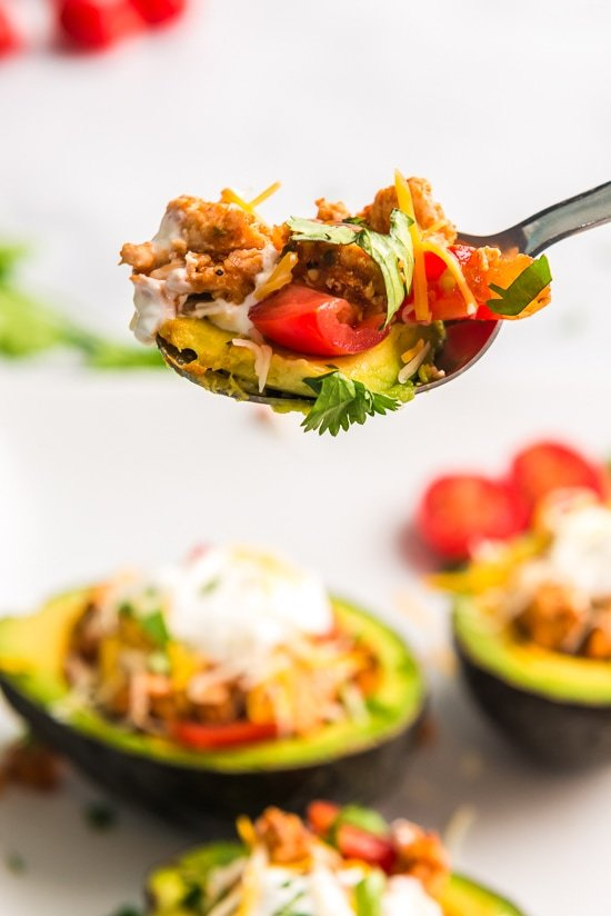 Taco Tuesday just got a little better with these low-carb Turkey Taco Stuffed Avocados – I'm obsessed!