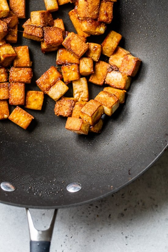 Stir fried tofu for Kung Pao