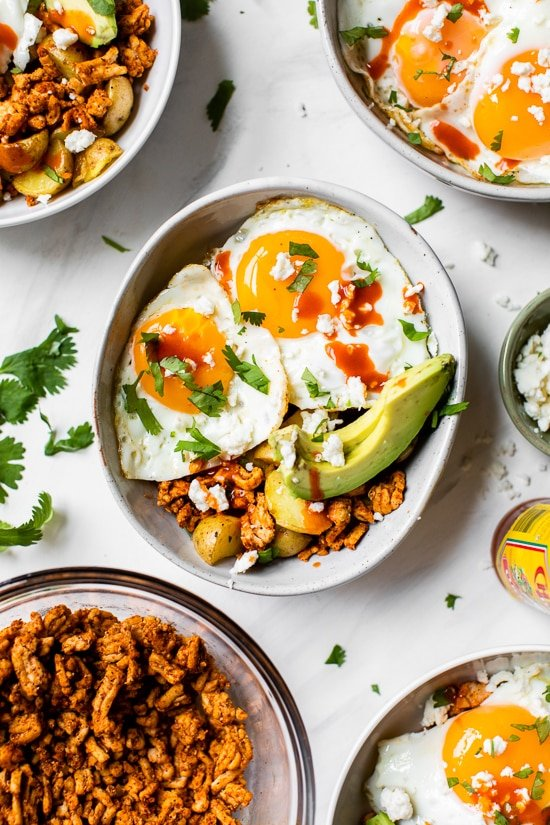 Start your day off right with a healthy Chorizo Breakfast Bowl – perfect for making ahead if you need a fast and easy breakfast on the go!