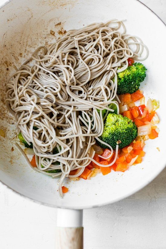 This spicy Soba Noodle Veggie Stir Fry is a quick and easy meal for one, and perfect as a dairy-free, vegetarian dinner.