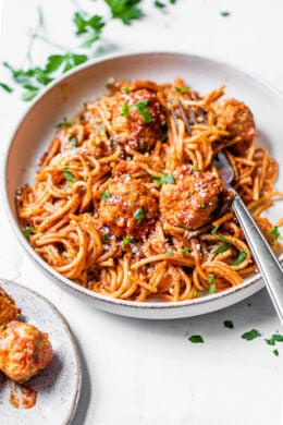 This one-pot Instant Pot Spaghetti and Meatballs is a fast and easy dish the kids and whole family will love!