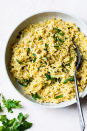 This simple rice pilaf with brown rice and angel hair pasta is a healthy, homemade version of Rice-A-Roni that makes the perfect side dish.