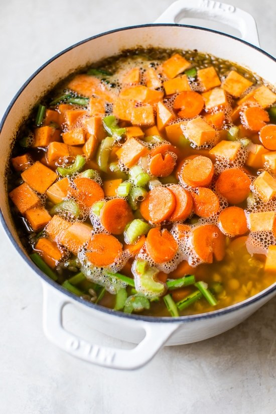 Big pot of lentil soup.