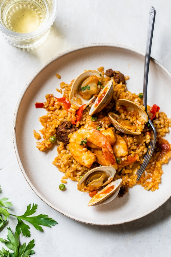 Home.fit Weeknight-Paella-10 Weeknight Clam and Shrimp Seafood Paella