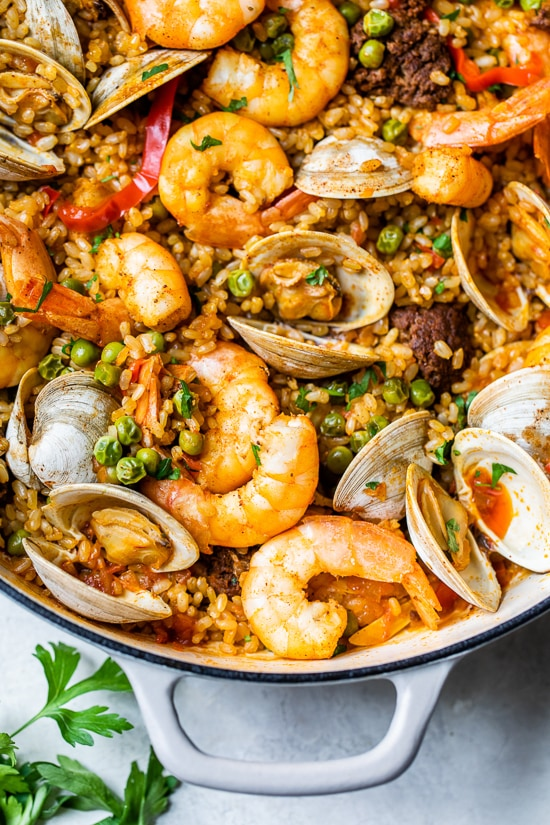 Home.fit Weeknight-Paella-6 Weeknight Clam and Shrimp Seafood Paella
