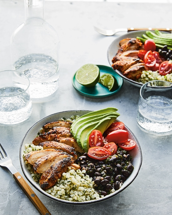 Chili-Lime Chicken and Black Bean Cauli-Bowls