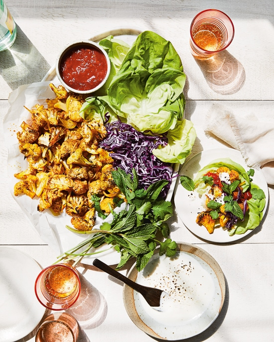 Roasted Cauliflower Shawarma Lettuce Wraps