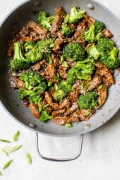 Broccoli Beef in a wok