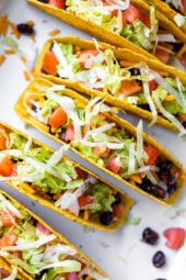 vegetarian black bean tacos in crispy shells