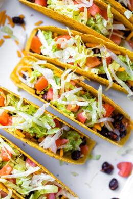 vegetarian black bean tacos in crispy shells