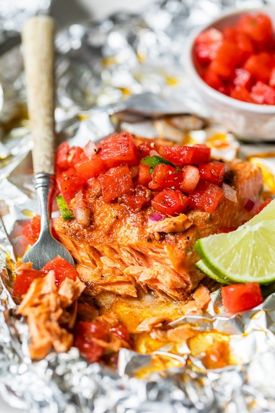 Foil Packet Spice Rubbed Fish with Watermelon Salsa