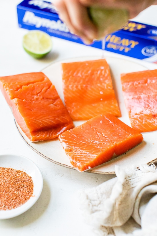 4 pieces raw salmon with foil