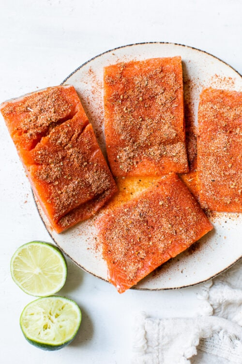 spiced rubbed raw salmon
