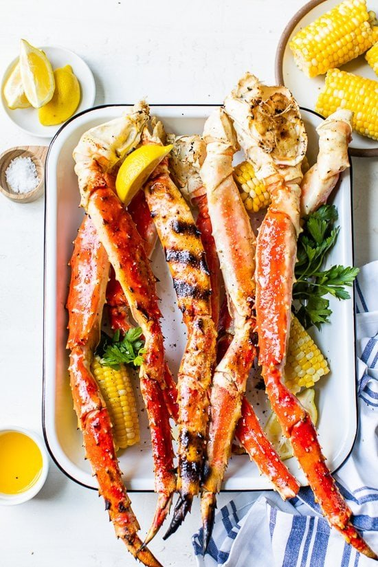 Grilled King Crab Legs in a platter