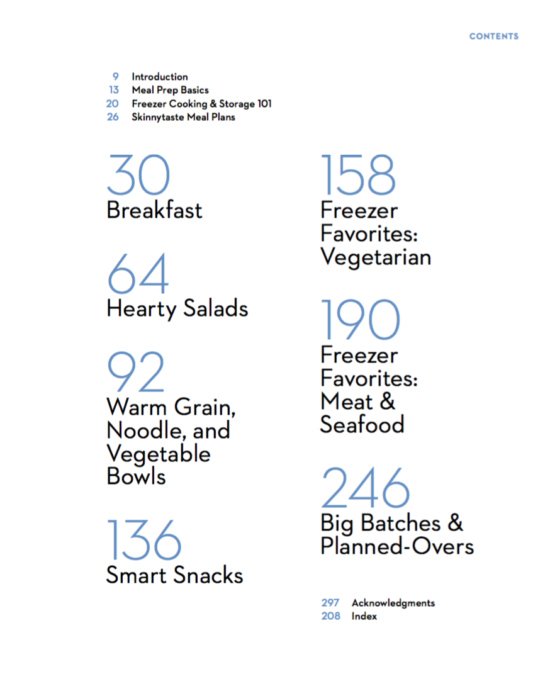 Skinnytaste Meal Prep Cookbook Table Of COntents