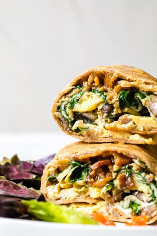 This Omelet Tortilla Breakfast Wrap takes a classic omelet and cooks it with a tortilla right in the skillet. Then simply roll it up and you have an easy on-the-go breakfast.