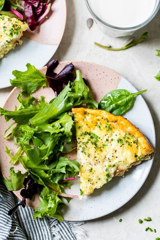 Crustless Quiche Lorraine on a plate.