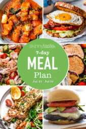 A free 7-day, flexible weight loss meal plan including breakfast, lunch and dinner and a shopping list. All recipes include calories and updated WW Smart Points.