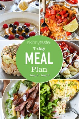 Collage of photos for a Healthy Meal Plan (Aug 3-9)