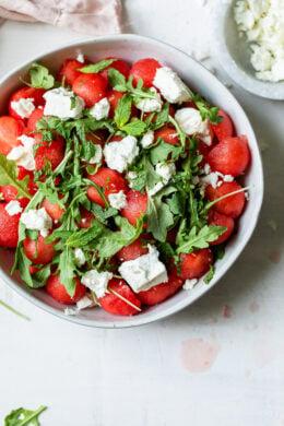 bowl with watermelon, feta and arugula