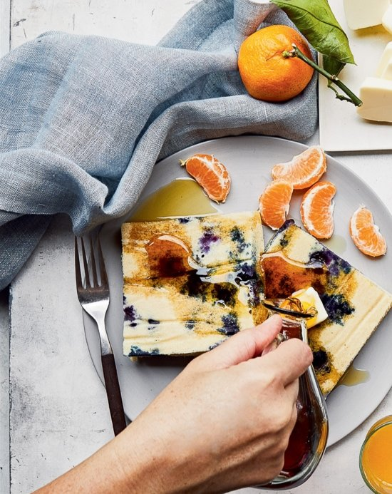 Lemon Blueberry Buttermilk Sheet Pan Pancakes