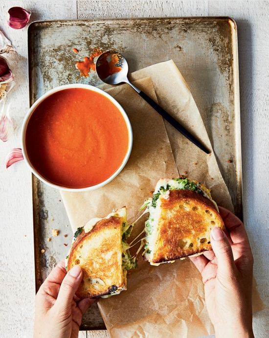 Tomato Basil Soup with Broccoli Grilled Cheese