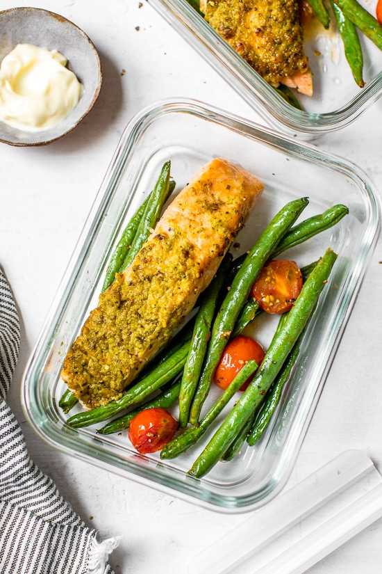salmon and green beans in a meal prep container