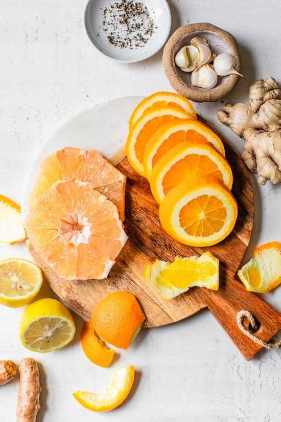 Ingredientes para Citrus Immunity Shot