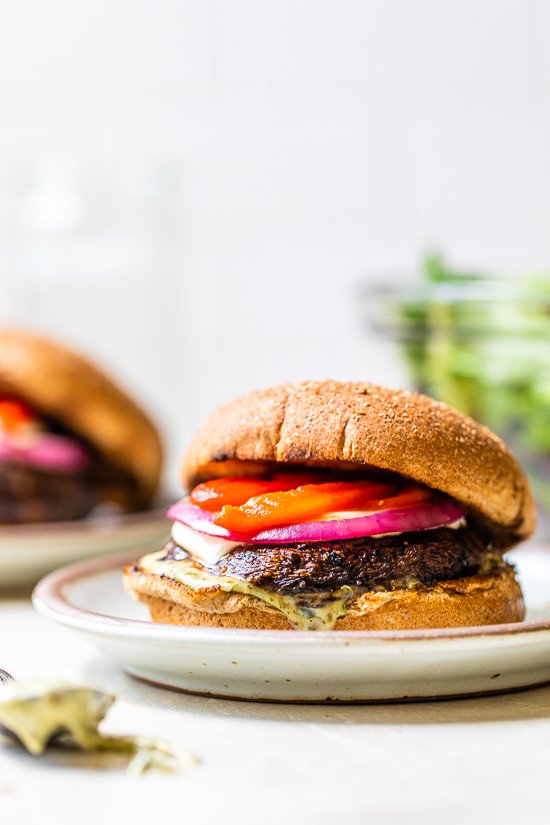 Portobello Mushroom Burger with Mozzarella and Pesto Mayo