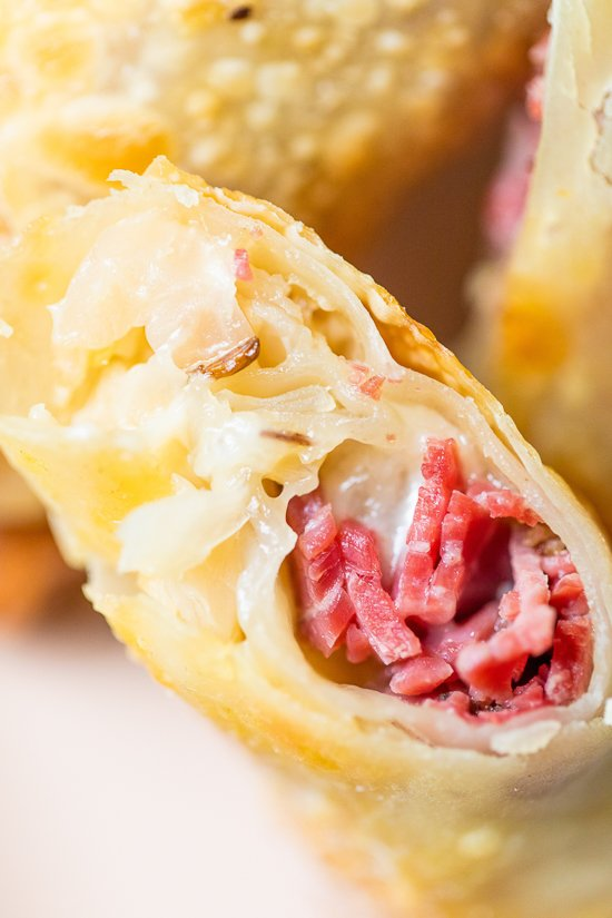 Pastrami Reuban Eggrolls close up.