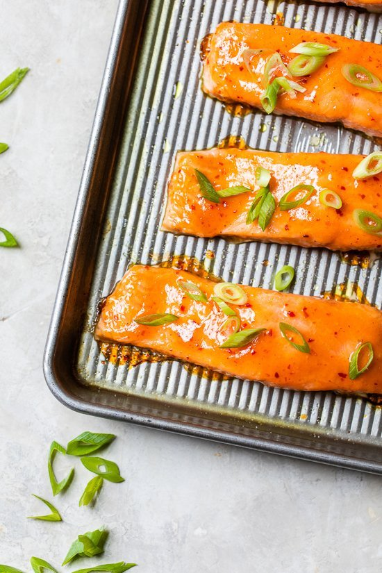 cooked salmon on a sheet pan