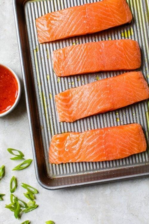 salmon on a sheet pan