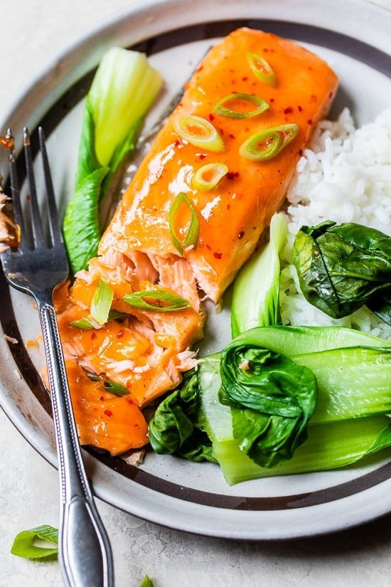 Sweet and Spicy Baked Salmon with rice and bok choy.