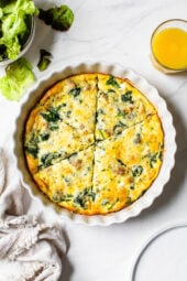 Crustless Sausage and Spinach Quiche cut.