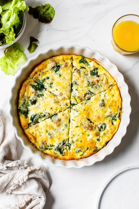 Crustless Sausage And Spinach Quiche Skinnytaste