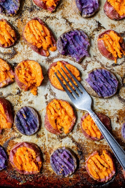 mashing sweet potato with a fork