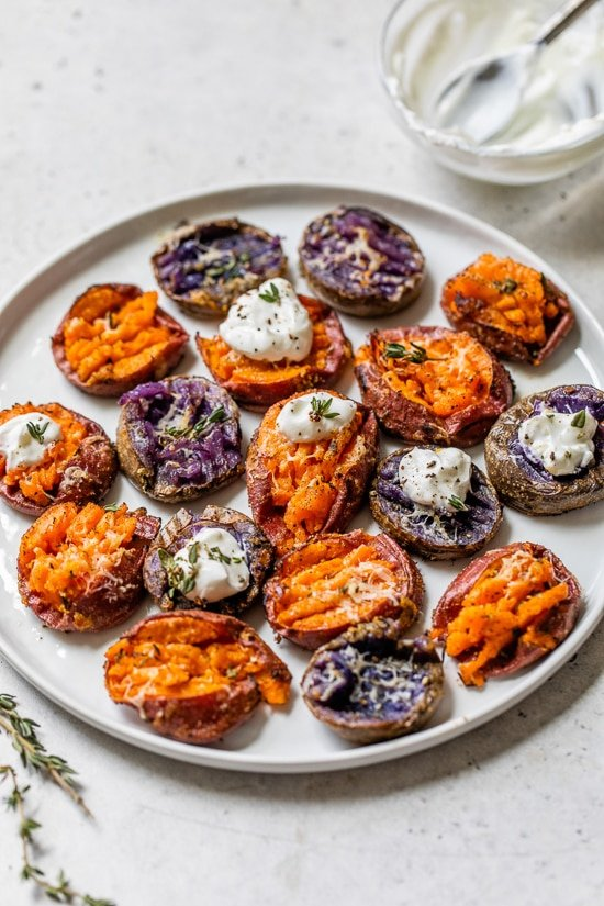 Plate of smashed sweet potatoes