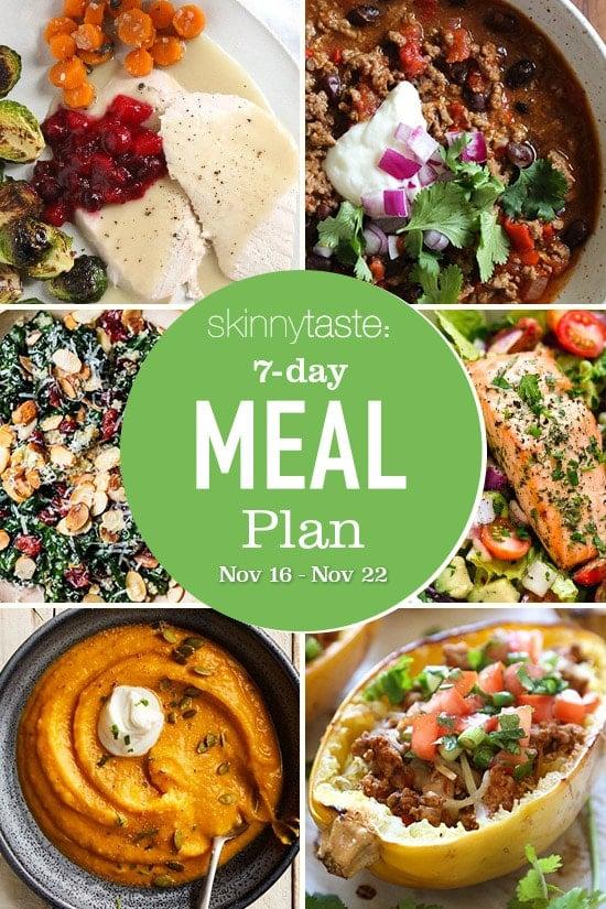 Plan de alimentación saludable de 7 días (del 16 al 22 de noviembre)