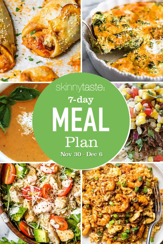 7 Day Healthy Meal Plan (Nov 30-Dec 6)