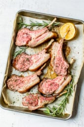 Frenched Rack of Lamb on a sheet pan