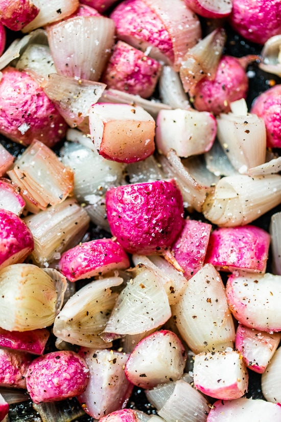 Roasted Radishes and Onions