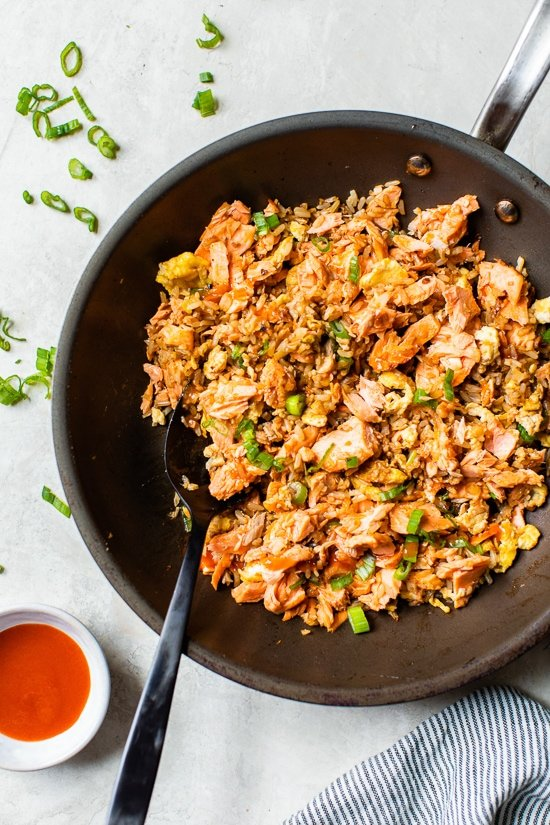 Fried rice with salmon