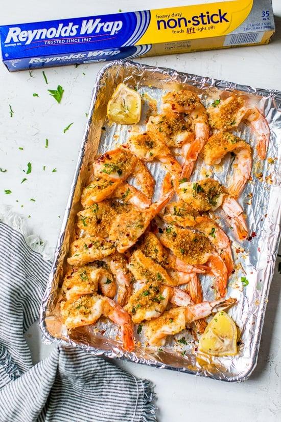 Shrimp oreganata with foil
