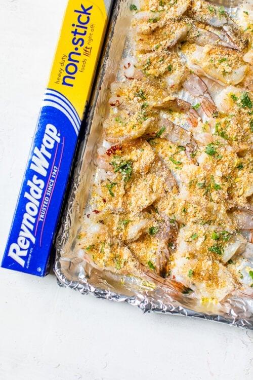 Shrimp Oreganata on baking sheet