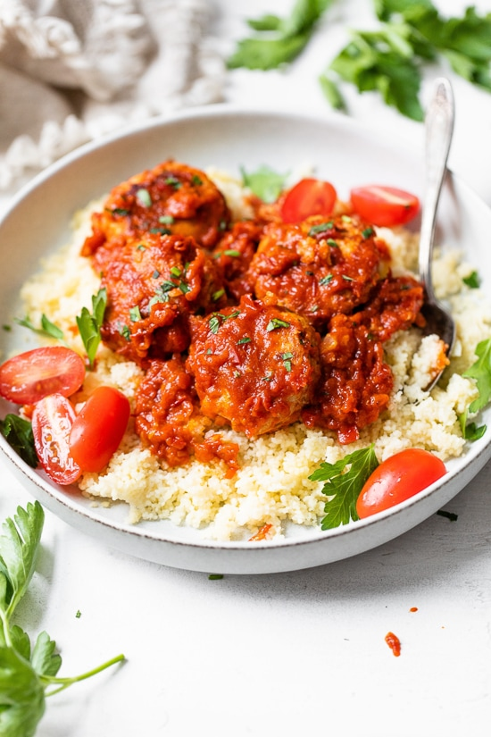 Harissa Chicken Meatballs with couscous.