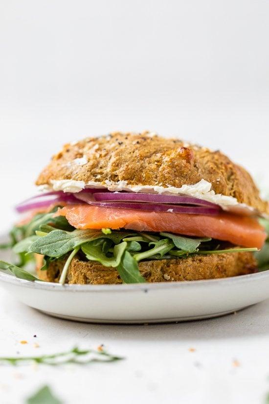 High Protein Oat Rolls Lox Sandwich