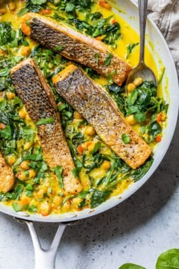 Salmon Coconut Curry with chickpeas