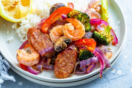 Shrimp and Andouille with veggies.