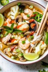 Shrimp Pho with chopsticks